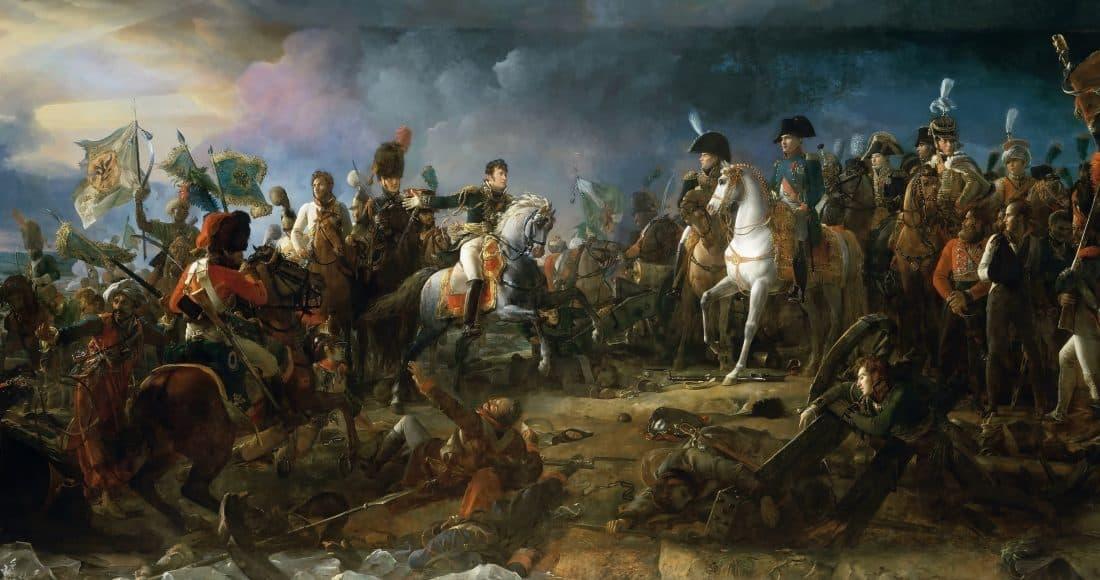 Charge des gardes impériales russes; Rapp présentant les drapeaux etc.