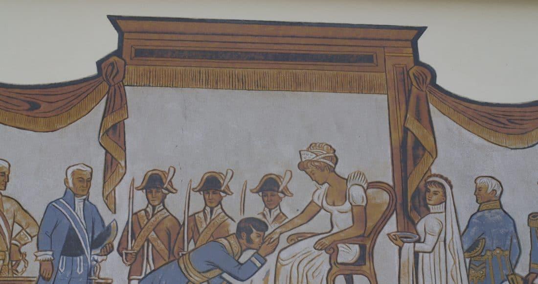La fresque de Sankt-Peter. Scène du baise-main