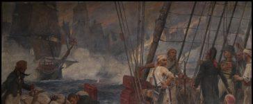 Tableau de la bataille des brûlots peint par Charles Fouqueray, 1902 (conservé dans la salle du conseil municipal de Fouras)