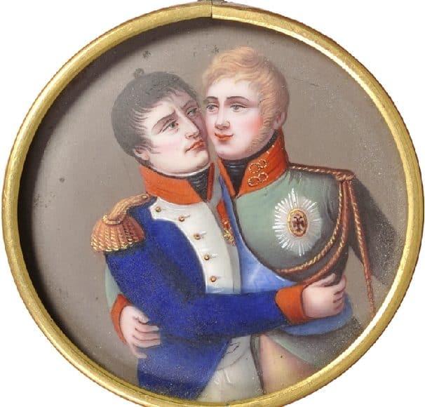 Médaillon célébrant Napoléon et Alexandre