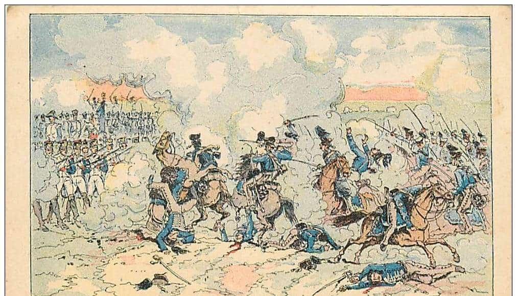 La bataille d'Auerstaedt - Les carrés de Davout repoussent les charges de la cavalerie prussienne.