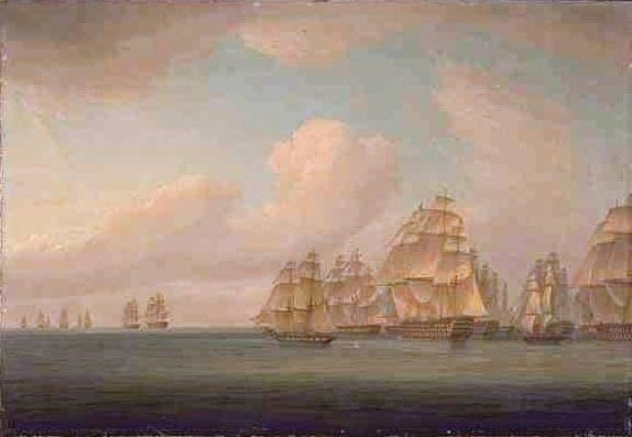 Allemand's squadron in pursuit of the Calcutta convoy, 25 September 1805, Thomas Whitcombe, National Library of Australia