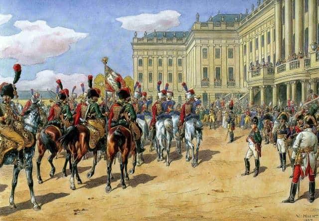 Napoléon passe ses troupes en revue à Schönbrunn