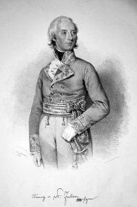 Franz Seraph Saint-Julien (1756-1836), Graf, k. k. Kämmerer, Obersterbland-Falkenmeister, Feldzeugmeister. Lithographie de Josef Kriehuber, 1853 (Albertina)