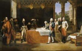 Traité de Leoben, 17 avril 1797. Esquisse pour un tableau commandé en 1806 pour la salle des conférences du Corps législatif et conservé au musée de Versailles. Guillaume Guillon Lethière, 1806.