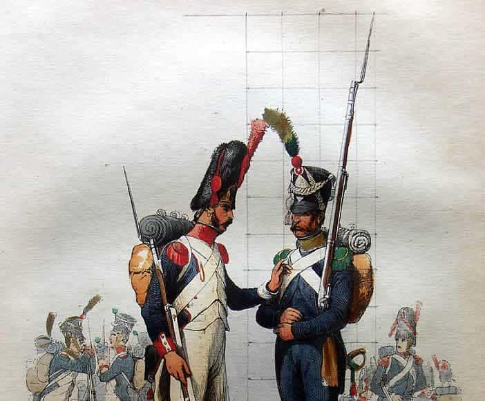 A droite : voltigeur d'infanterie - (Pascal)