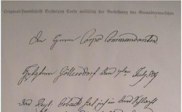 """""""Le régiment Erbach s'est, le 6, très bien comporté. Ce régiment reçoit le privilège d'exécuter, à l'avenir, et en toutes circonstances, la marche des grenadiers."""""""